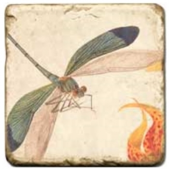 Marble Tile, Theme: Winged Insects 2 A, antique finish, hanger, anti slip nubs, Dim.: l 20 x w 20 x h 1 cm