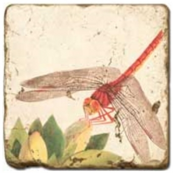 Marble Tile, Theme: Winged Insects 2 B, antique finish, hanger, anti slip nubs, Dim.: l 20 x w 20 x h 1 cm