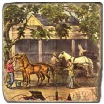 Marble Tile, Theme: Horses 1 B, antique finish, hanger, anti slip nubs, Dim.: l 20 x w 20 x h 1 cm