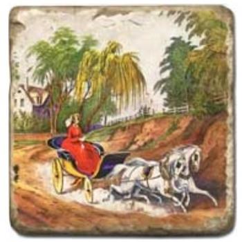 Marmorfliese, Motiv: Pferde 1 C,  Antikfinish,  Aufhängeöse, Antirutschfüßchen, Maße: L 20 x B 20 x H 1 cm