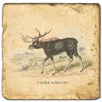 Marble Tile, Theme: Deer A, antique finish, hanger, anti slip nubs, Dim.: l 20 x w 20 x h 1 cm