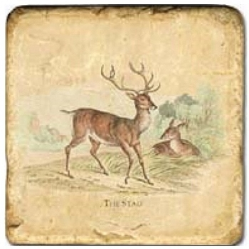 Marble Tile, Theme: Deer B, antique finish, hanger, anti slip nubs, Dim.: l 20 x w 20 x h 1 cm