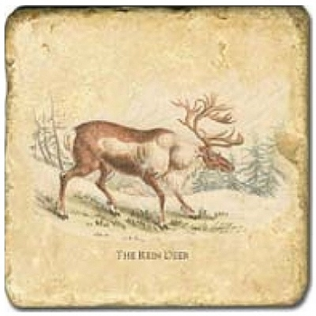 Marble Tile, Theme: Deer C, antique finish, hanger, anti slip nubs, Dim.: l 20 x w 20 x h 1 cm
