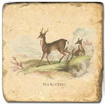 Marble Tile, Theme: Deer D, antique finish, hanger, anti slip nubs, Dim.: l 20 x w 20 x h 1 cm