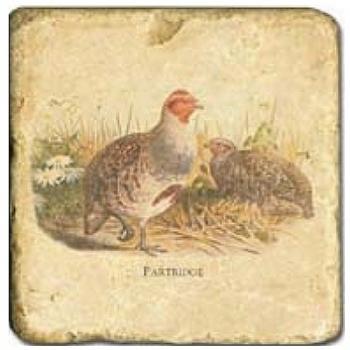 Carrelage en marbre, motif gibier à plumes B, finition antique, illet pour l'accroche, pieds antidérapants, L 20 xl 20 x h 1 cm