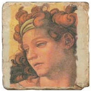 Carrelage en marbre, motif buste classique A, finition antique, illet pour l'accroche, pieds antidérapants, L 20 xl 20 x h 1 cm
