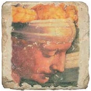 Carrelage en marbre, motif buste classique B, finition antique, illet pour l'accroche, pieds antidérapants, L 20 xl 20 x h 1 cm