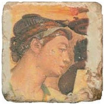 Carrelage en marbre, motif buste classique D, finition antique, illet pour l'accroche, pieds antidérapants, L 20 xl 20 x h 1 cm