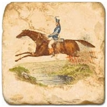 Marble Tile, Theme: Horsemen A, antique finish, hanger, anti slip nubs, Dim.: l 20 x w 20 x h 1 cm