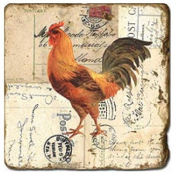 Marble Tile, Theme: Roosters 2 A, antique finish, hanger, anti slip nubs, Dim.: l 20 x w 20 x h 1 cm