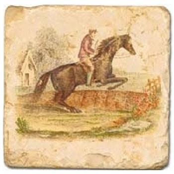 Carrelage en marbre, motif cheval et cavalier B, finition antique, illet pour l'accroche, pieds antidérapants, L 20 xl 20 x h 1 cm