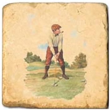 Marmorfliese, Motiv: Golf 1 A,  Antikfinish,  Aufhängeöse, Antirutschfüßchen, Maße: L 20 x B 20 x H 1 cm
