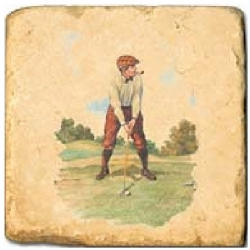 Marble Tile, Theme: Golf 1 A, antique finish, hanger, anti slip nubs, Dim.: l 20 x w 20 x h 1 cm