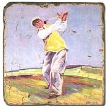 Carrelage en marbre, motif golf 4A, finition antique, illet pour l'accroche, pieds antidérapants, L 20 xl 20 x h 1 cm