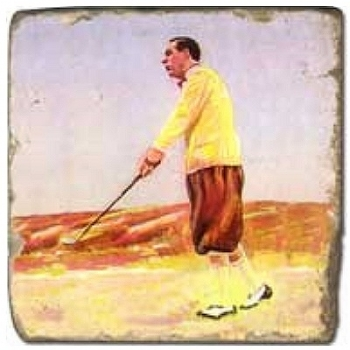 Marble Tile, Theme: Golf 4 B, antique finish, hanger, anti slip nubs, Dim.: l 20 x w 20 x h 1 cm