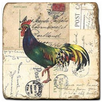 Marble Tile, Theme: Roosters 2 B, antique finish, hanger, anti slip nubs, Dim.: l 20 x w 20 x h 1 cm