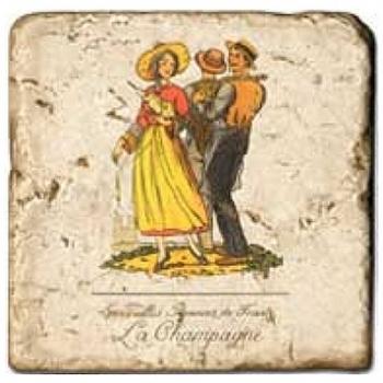 Carrelage en marbre, motif région de France Champagne, finition antique, illet pour l'accroche, pieds antidérapants, L 20 xl 20 x h 1 cm