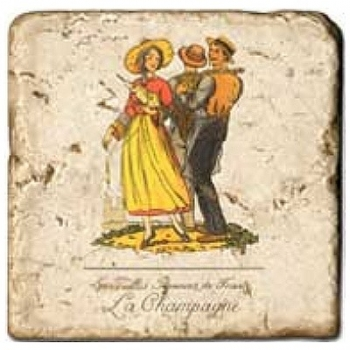 Marble Tile, Theme: French Regions A, antique finish, hanger, anti slip nubs, Dim.: l 20 x w 20 x h 1 cm