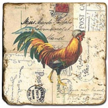 Marble Tile, Theme: Roosters 2 C, antique finish, hanger, anti slip nubs, Dim.: l 20 x w 20 x h 1 cm