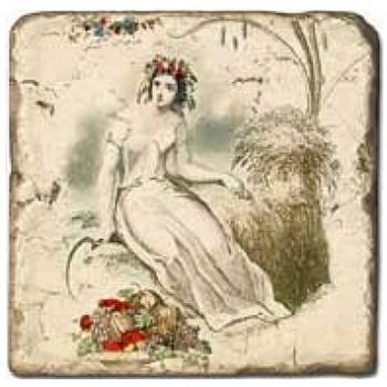 Carrelage en marbre, motif les 4 saisons B, finition antique, illet pour l'accroche, pieds antidérapants, L 20 xl 20 x h 1 cm