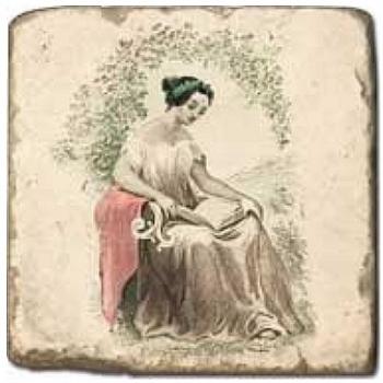 Carrelage en marbre, motif les 4 saisons C, finition antique, illet pour l'accroche, pieds antidérapants, L 20 xl 20 x h 1 cm