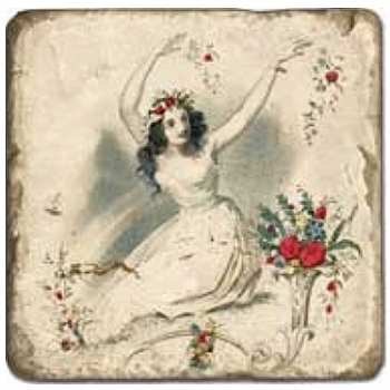 Carrelage en marbre, motif les 4 saisons D, finition antique, illet pour l'accroche, pieds antidérapants, L 20 xl 20 x h 1 cm