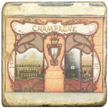 Carrelage en marbre, motif devanture de magasin A, finition antique, illet pour l'accroche, pieds antidérapants, L 20 xl 20 x h 1 cm