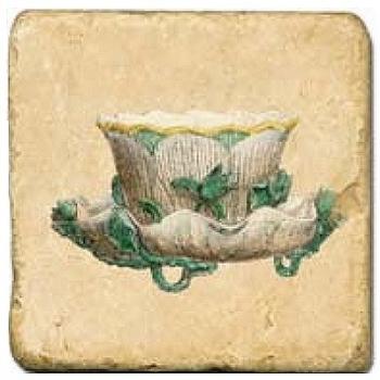 Carrelage en marbre, motif tassse de thé 1B, finition antique, illet pour l'accroche, pieds antidérapants, L 20 xl 20 x h 1 cm