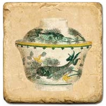 Marble Tile, Theme: Tea Cups 1 C, antique finish, hanger, anti slip nubs, Dim.: l 20 x w 20 x h 1 cm