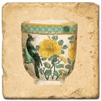 Carrelage en marbre, motif tassse de thé 1D, finition antique, illet pour l'accroche, pieds antidérapants, L 20 xl 20 x h 1 cm