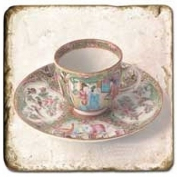 Carrelage en marbre, motif tassse de thé 2B, finition antique, illet pour l'accroche, pieds antidérapants, L 20 xl 20 x h 1 cm
