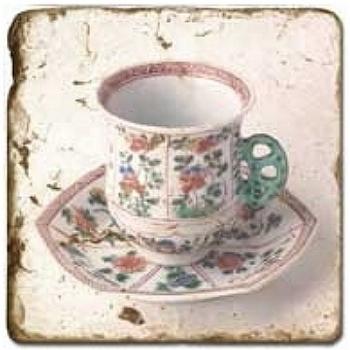 Marble Tile, Theme: Tea Cups 2 C, antique finish, hanger, anti slip nubs, Dim.: l 20 x w 20 x h 1 cm