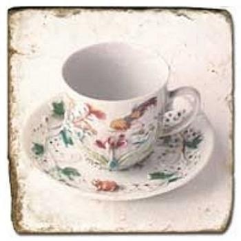 Carrelage en marbre, motif tassse de thé 2D, finition antique, illet pour l'accroche, pieds antidérapants, L 20 xl 20 x h 1 cm