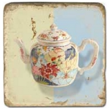Marble Tile, Theme: Tea Pots A, antique finish, hanger, anti slip nubs, Dim.: l 20 x w 20 x h 1 cm