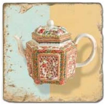 Marble Tile, Theme: Tea Pots B, antique finish, hanger, anti slip nubs, Dim.: l 20 x w 20 x h 1 cm
