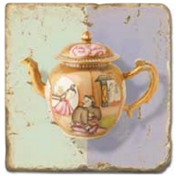 Marble Tile, Theme: Tea Pots C, antique finish, hanger, anti slip nubs, Dim.: l 20 x w 20 x h 1 cm