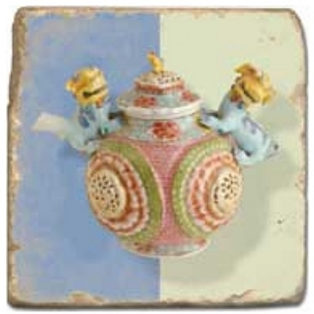 Marble Tile, Theme: Tea Pots D, antique finish, hanger, anti slip nubs, Dim.: l 20 x w 20 x h 1 cm
