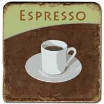 Marble Tile, Theme: Coffee Cups 1 D, antique finish, hanger, anti slip nubs, Dim.: l 20 x w 20 x h 1 cm