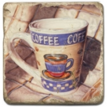 Marble Tile, Theme: Coffee Cups 2 C, antique finish, hanger, anti slip nubs, Dim.: l 20 x w 20 x h 1 cm