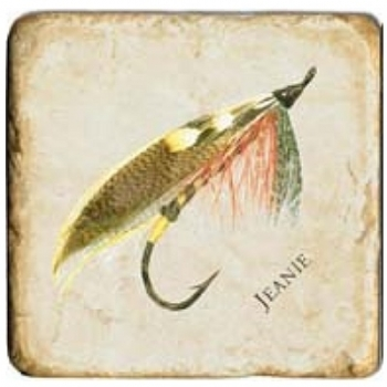 Marble Tile, Theme: Fishing Flies 1 A, antique finish, hanger, anti slip nubs, Dim.: l 20 x w 20 x h 1 cm