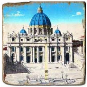 Marmorfliese, Motiv: Antikes Rom A,  Antikfinish,  Aufhängeöse, Antirutschfüßchen., Maße: L 20 x B 20 x H 1 cm