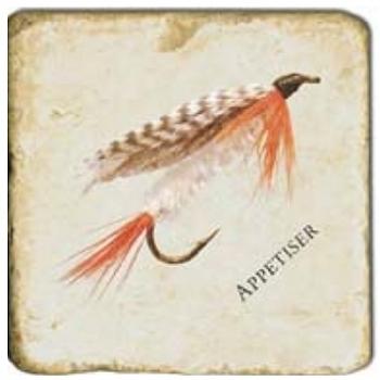 Marble Tile, Theme: Fishing Flies 1 B, antique finish, hanger, anti slip nubs, Dim.: l 20 x w 20 x h 1 cm