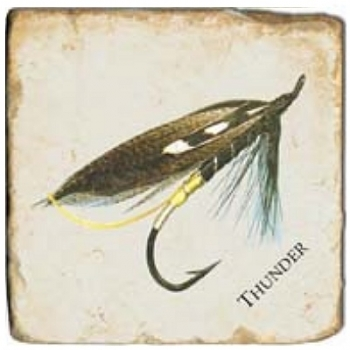 Marble Tile, Theme: Fishing Flies 1 C, antique finish, hanger, anti slip nubs, Dim.: l 20 x w 20 x h 1 cm