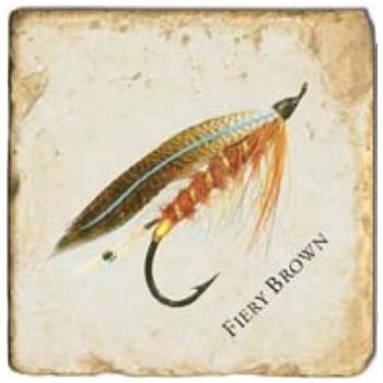 Marble Tile, Theme: Fishing Flies 1 D, antique finish, hanger, anti slip nubs, Dim.: l 20 x w 20 x h 1 cm