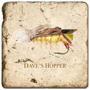 Carrelage en marbre, motif leurres mouches 2C, finition antique, illet pour l'accroche, pieds antidérapants, L 20 xl 20 x h 1 cm