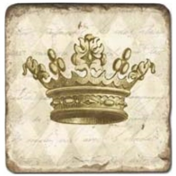 Marble Tile, Theme: Crowns A, antique finish, hanger, anti slip nubs, Dim.: l 20 x w 20 x h 1 cm