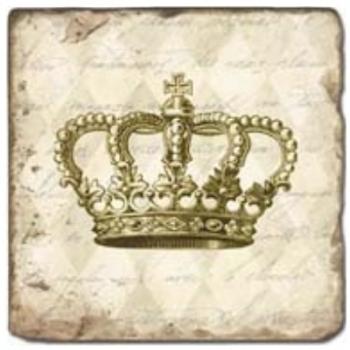 Carrelage en marbre, motif couronne B, finition antique, illet pour l'accroche, pieds antidérapants, L 20 xl 20 x h 1 cm
