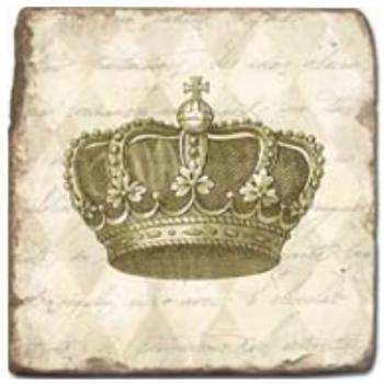 Marble Tile, Theme: Crowns D, antique finish, hanger, anti slip nubs, Dim.: l 20 x w 20 x h 1 cm