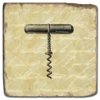 Marble Tile, Theme: Corkscrews A, antique finish, hanger, anti slip nubs, Dim.: l 20 x w 20 x h 1 cm