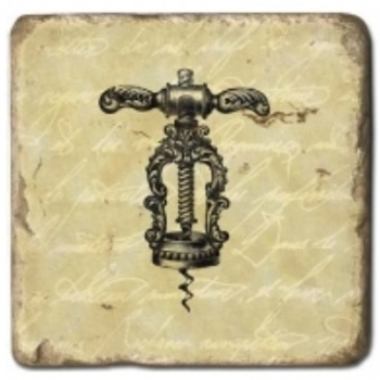 Marble Tile, Theme: Corkscrews B, antique finish, hanger, anti slip nubs, Dim.: l 20 x w 20 x h 1 cm